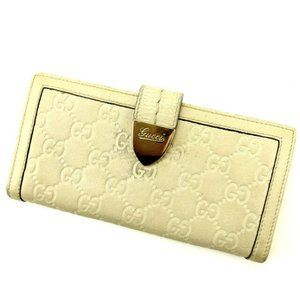 Gucci Wallet Purse Long Wallet Guccissima White Woman Authentic Used